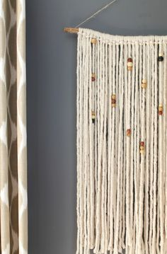 Yarn + Beads= the easiest DIY Macramé wall hanging ever!!