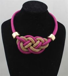 Chromall. Chic Purple Braided Rope And Chain Bib Necklace