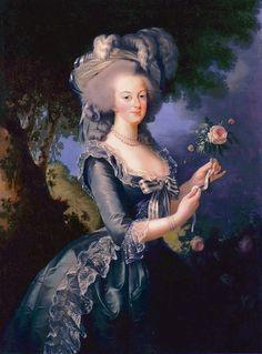 1783 Marie Antoinette holding a rose by Élisabeth-Louise Vigée-Lebrun (Versailles)   Grand Ladies   gogm