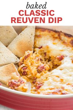 Looking for a classic Reuben dip? This rich, creamy and incredibly tasty Reuben dip is best shared with a crowd. Perfect appetizer for every Reuben lover for game day and makes the perfect party dip Beef Appetizers, Appetizer Recipes, Snack Recipes, Dessert Recipes, Dip Recipes, Desserts, Gourmet Recipes, Beef Recipes, Cooking Recipes
