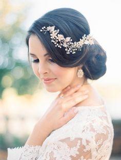 Elegant Bridal Updo with a Gold and Pearl Headpiece   Kristin La Voie Photography   http://heyweddinglady.com/vintage-wedding-styling-autumn-garden/