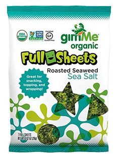 gimMe Snacks  Organic Roasted Seaweed Snacks Sea Salt Full Sheet 092 Ounce Pack of 10 >>> Find out more about the great product at the image link.