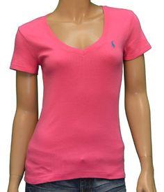 Polo Ralph Lauren Women s V-Neck Shirt-Pink-Medium « Shirt Add 2b6a734100f17