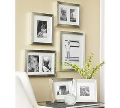 Mix Silver, white and black frames in a collage with artful photos of family and kids art work.