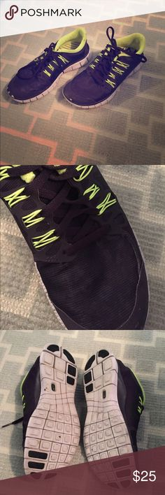 Nike Free 5.0 H2O Repel. Classic Nike Frees. Dark purple with slight leopard print on the tops. Lime green accents. Perfect for gym classes/gym time or walking around town. Water repellent. Slightly scuffed toe from limited wear (see photo). No box. Nike Shoes Sneakers