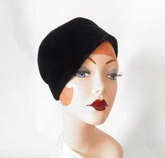 Vintage velvet hat black toque Mr. Henri New by TheVintageHatShop, $32.00