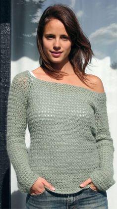 Bluse med Bred Udskæring / Wide Neck Top pattern by Sys Fredens Wooly Jumper, Crochet Jumper, Crochet Tank Tops, Diy Crochet And Knitting, Crochet Woman, Crochet Blouse, Crochet Clothes, Free Crochet, Crochet Sweaters