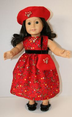 American Girl Doll Clothes  Red Reindeer by KathiesDollCloset, $10.99