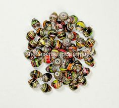 Paper Beads, Loose Handmade Supplies Round Black w/ Bright Floral Gold Foil by…