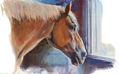 Draft Horse Turk. Casein painting by James Gurney, 5x8 inches.