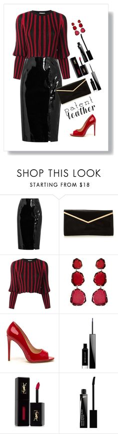 """Ms. Quinn"" by patricia-dimmick ❤ liked on Polyvore featuring Topshop Unique, Sonia Rykiel, Annoushka, Givenchy, Yves Saint Laurent, blackleather, patentleather and highshine"