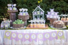 Pretty fairy birthday party dessert table! See more party ideas at CatchMyParty.com!