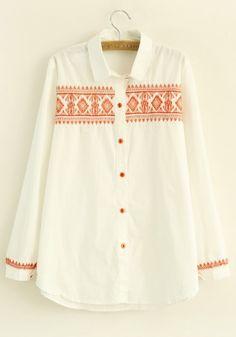 White Plain V-neck Cotton Blend Long Sleeve Blouse