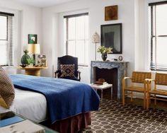 Blue + brown bedroom: Nate Berkus's Chicago space, featured in Elle Decor by xJavierx, via Flickr