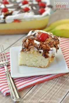 Banana Split Poke Cake   Shugary Sweets