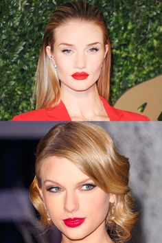 RED HOT: Nothing makes a style statement quite like a bold red lip. Rosie Huntington-Whiteley and Taylor Swift prove the theory true.
