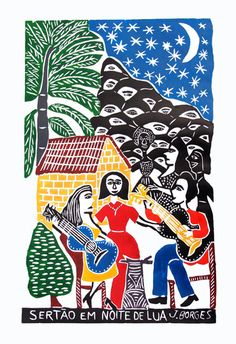 J.Borges  - Sertão em Noite de Lua, 66X48 cm