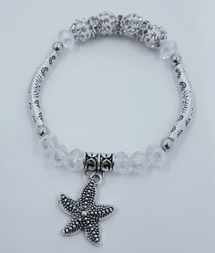 8mm Clear Crystal Glass  with Curved Tube Bead & Star Fish Charm Stretch Bracelets