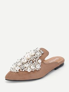 size 40 39049 b7a72 Casual Point Toe Khaki Faux Pearl Decorated Flat Mules Caucho, Perlas,  Tacones