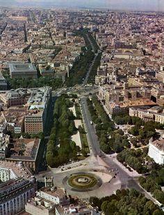 Plaza de Neptuno, vista aérea desde el Sur, 1969  Revista Villa de Madrid, nº 27