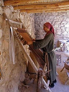 Weaving in Nazareth Village. Nazareth Village is an open air museum that reconstructs and reenacts village life in the Galilee in the time of Jesus. (V)