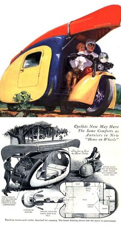 plan from a 1930s Popular Science magazine article for a motorcycle camper trailer by an unnamed German inventor