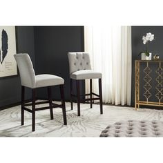 Safavieh Nrah Light Grey Barstool (Set of 2)
