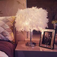 Modern Creative Desk Lamp Feather Lamp Fashion Living Room Desk Light Bedroom Bedside Feather Table Lamp S/M/L Size Desk In Living Room, Table Lamps For Bedroom, Bedside Table Lamps, Light Bedroom, White Bedroom, Feather Lamp, Best Desk Lamp, Bright Homes, Cool Lamps