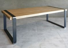 Table repas m tal et bois factory 140 cm factories and - Table haute industrielle bois ...