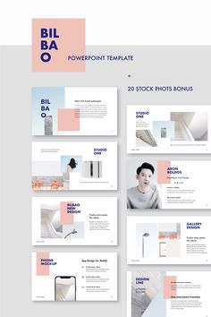 BILBAO - Powerpoint Template + Bonus: 20 Stock Photos Clean, modern and minimal Powerpoint Template in format. This layout gives you many possibilities of creativity. Perfect for Presentation, Portfolio Showcase and many more. You can edit ever Keynote Design, Ppt Design, Layout Design, Slide Design, Brochure Design, Web Layout, Booklet Design Layout, Graphic Design Layouts, Layout Template