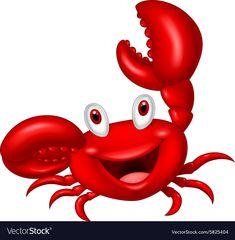 Cute crab cartoon vector image on VectorStock Art Drawings For Kids, Cartoon Drawings, Cartoon Art, Art For Kids, Crab Painting, Stone Painting, Crab Cartoon, Farm Animals Preschool, Crab Illustration