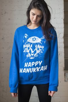 Happy-Hanukkah-cat sweatshirt from rag stock Happy Hanukkah, Hanukkah 2019, Cat Sweatshirt, Graphic Sweatshirt, Blue Cats, Being Ugly, Fitness Models, Sweatshirts, Christmas