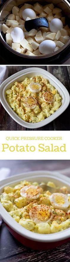 photo collage of pressure cooker potato salad