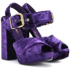 4f76453ceaca5c Prada Velvet Plateau Sandals Purple Heeled Sandals