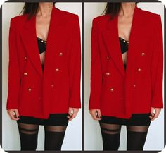 Red Strong Shoulder Blazer with Gold Buttons