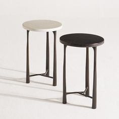 Margot Side Tables with parchment tabletops and bronze bases