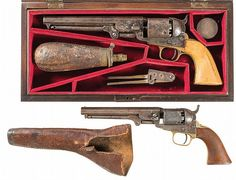 Buy online, view images and see past prices for Two Civil War Era Colt Percussion Revolvers -A) British Proofed Colt Model 1851 Navy Revolver with Case. Invaluable is the world's largest marketplace for art, antiques, and collectibles. Gun Holster, Leather Holster, Revolver, Westerns, Scratched Wood, Black Powder Guns, Army & Navy, Old West, Percussion