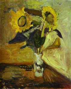 Vase of Sunflowers, 1898 by Henri Matisse. Impressionism. flower painting