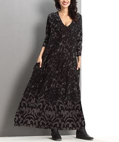 This Charcoal Abstract Pleated V-Neck Maxi Dress by Reborn Collection is perfect! #zulilyfinds