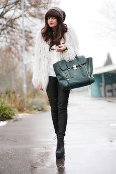furry jacket, 3.1 Phillip Lim bag and Jeffrey Campbell booties
