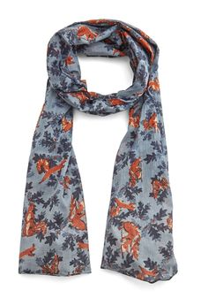 Just Oak-ing Scarf. Its no joke - your ensemble will be cute n quirky when its topped with this cotton scarf! #blue #modcloth