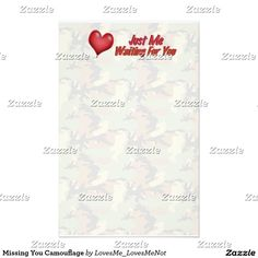 Missing You Camouflage Stationery Paper by LovesMe_LovesMeNot