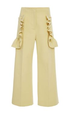 Cotton Crepe Ruffle Cropped Trouser by MARNI for Preorder on Moda Operandi
