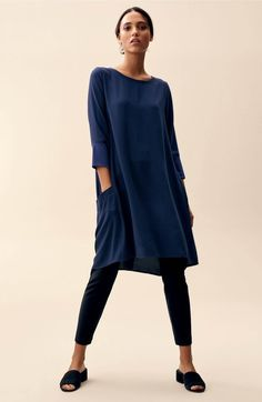 Main Image - Eileen Fisher Mixed Media Silk Tunic (Regular & Petite)