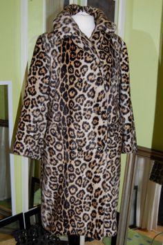 Vintage 60's FAUX Leopard fur coat overcoat swing coat SAFARI by Lafrance Mint size L on Etsy, $225.00