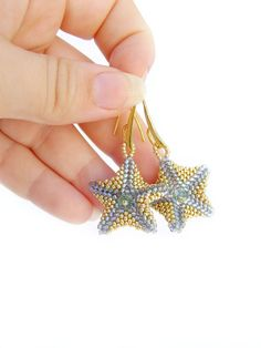 Beaded starfish earrings beadwork earrings sea by ElenaGioielli, €25.00