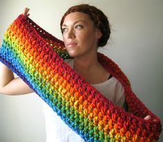 Double Rainbow Scarf. Extra Chunky Handmade Bright & Colorful. I  need one for winter! love it!