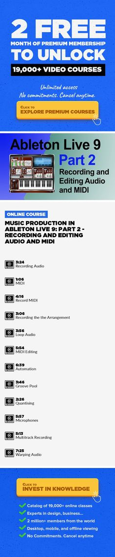 Music Production in Ableton Live 9: Part 2 - Recording and Editing Audio and MIDI Music, Music Composition, Music Production, Music Technology, Creative, Software, Ableont Live #onlinecourses #onlinetrainingproducts #MotivationCourses   In this class, we can through recording and editing audio and MIDI in Ableton Live 9 on screen with me Tomas George. We cover the topics - Recording Audio and MIDI...