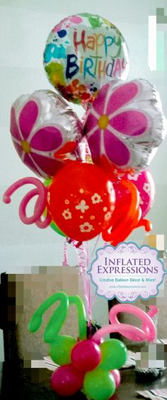 Happy Birthday Balloon Bouquet Arrangement Arrangements Decorations Company