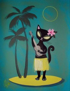El Gato Gomez Painting Retro Mid Century Tiki Bar Hula Pinup Girl Cat Hawaii 50s | eBay